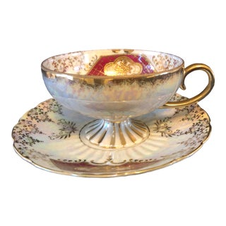 Royal Sealy Lustre Ware Teacup & Saucer, 2 Pieces For Sale
