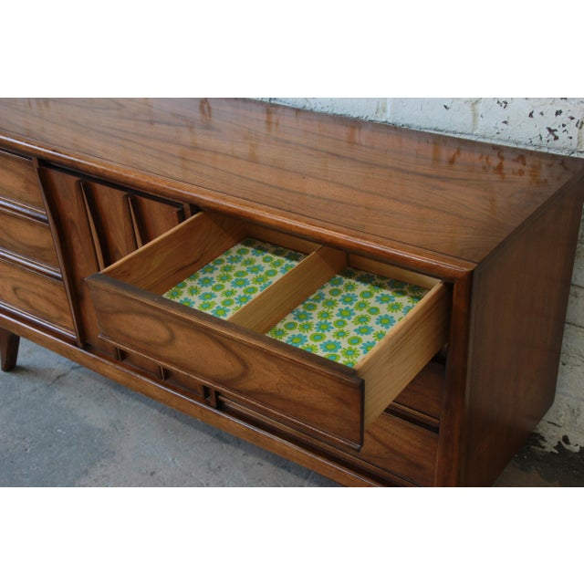 Walnut United Mid-Century Sculpted Front Walnut Long Dresser For Sale - Image 7 of 10