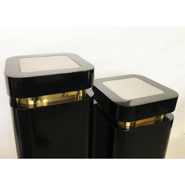 Pair of Black Lacquer and Brass Pedestals For Sale - Image 4 of 8