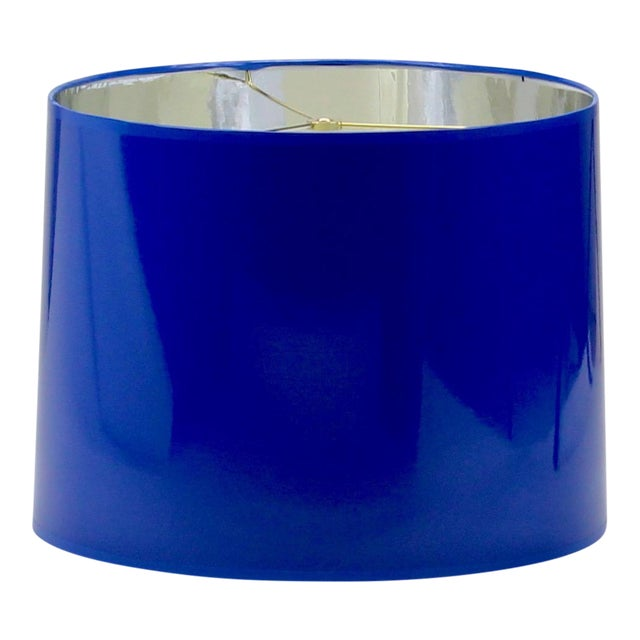 High Gloss Cobalt Blue Tapered Lampshade For Sale