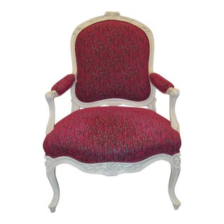 Modern Carved Wood Fauteuil Accent Chair For Sale