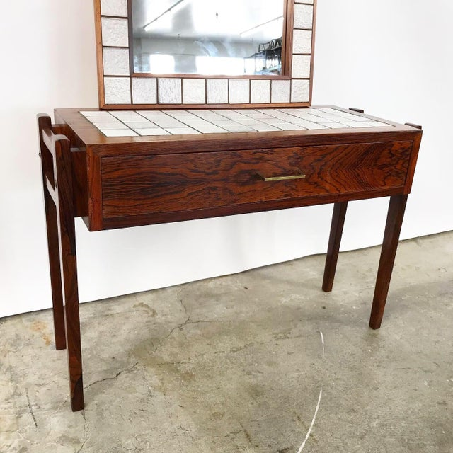 1960s Danish Rosewood & Tile Vanity For Sale - Image 5 of 11