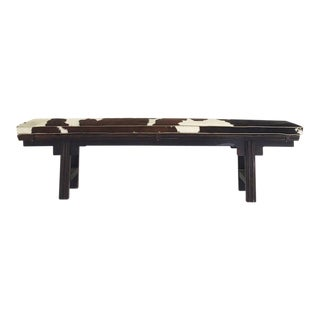 Vintage Chinese Altar Bench With Custom Cowhide Cushion
