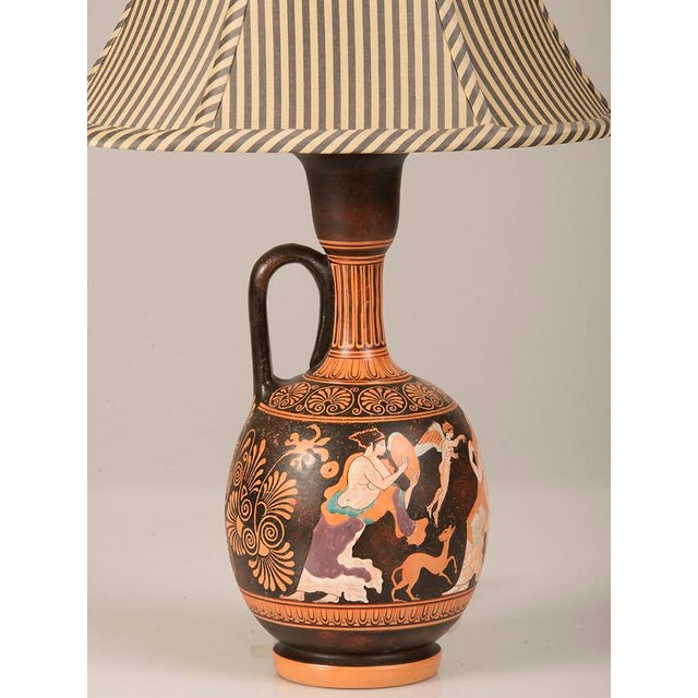 Early 19th Century 19th Century Greek Hand Painted Earthenware Amphora Lamp For Sale - Image 5 of 9