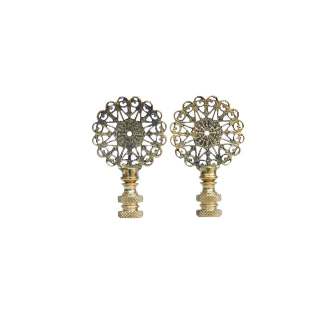 Lacy Brass Lamp Finials - a Pair For Sale - Image 4 of 4