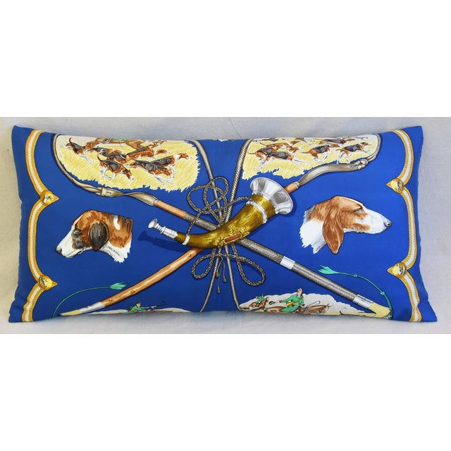"""Hermes Le Laissed Courre Hunt & Hounds Silk Feather/Down Pillow 34"""" x 17"""" For Sale - Image 10 of 12"""