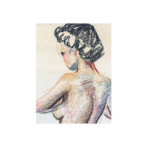 Colorful vintage nude drawing of a woman's back. Unframed. Pinholes in corners, some age-related discoloration of paper.