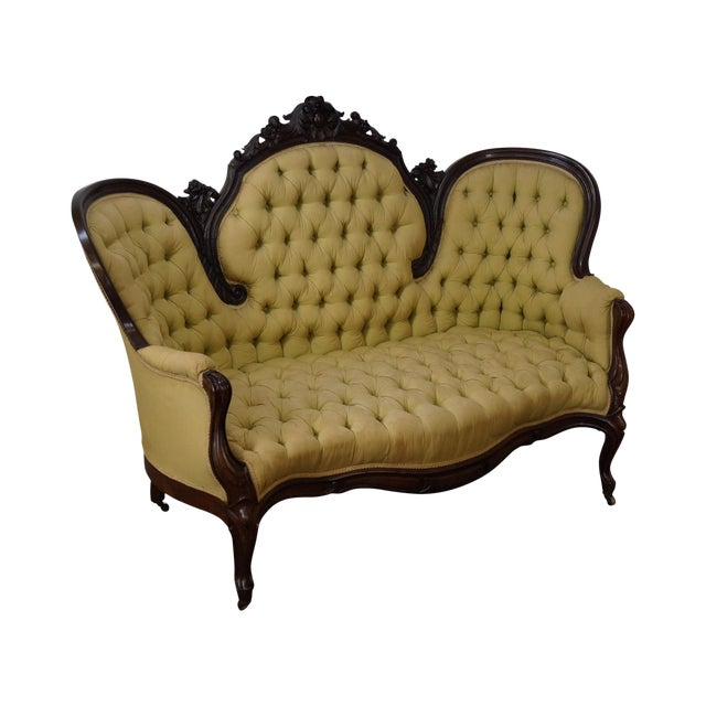 Antique 19th Century Victorian Carved Rosewood Settee Loveseat For Sale