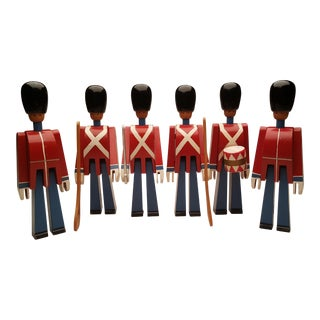 1960s Vintage Kay Bojesen Wooden Toy Soldiers - Set of 6 For Sale