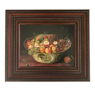 """French """"Porcelain Bowl of Fruit With Butterflies"""" Framed Still Life Oil Painting For Sale"""