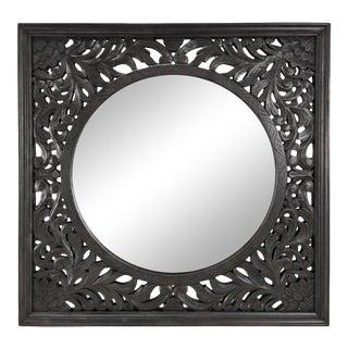 Large Ebony Carved Mirror Frame For Sale