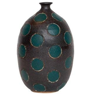 Matthew Ward Green Polka Dot Vase For Sale