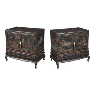Vintage Lacquered Chinese Cabinets on Stands - a Pair For Sale