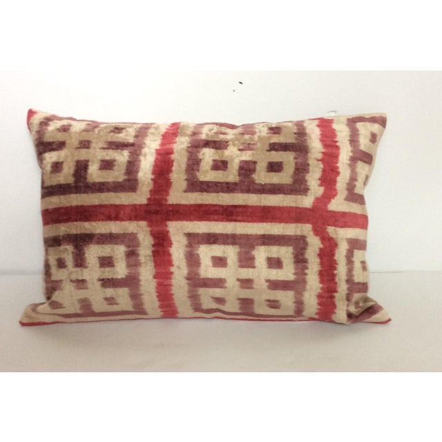 Purple Silk Velvet Ikat Pillow - Image 2 of 5