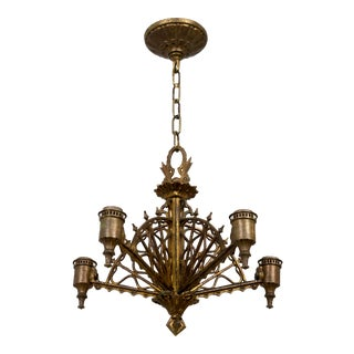 Early 20th Century Metalwork Radial Webs Chandelier For Sale