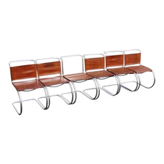 1960s Mid-Century Modern Italian Brown Leather and Chrome Cantilever Chairs - Set of 6 For Sale