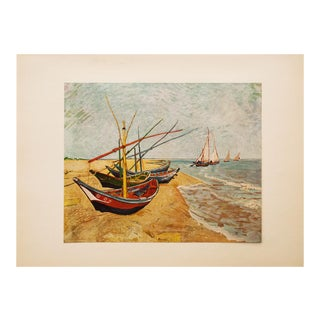 """1950s Van Gogh, First Edition Lithograph """"Fishing Boats on the Beach at Saintes-Maries"""" For Sale"""