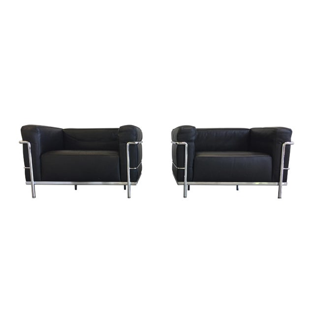 Le Corbusier Black Leather Sofa & Club Chairs by Cassina, Signed ...