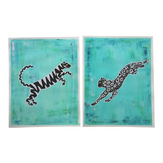 Pair of Chinoiserie Tropical Leopard and Tiger by Cleo Plowden For Sale