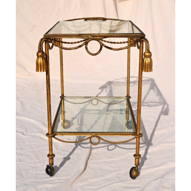Metal Italian Gilt Bar Cart For Sale - Image 7 of 11