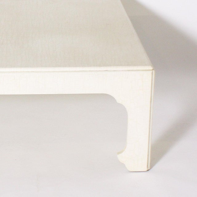 1970s White Ivory Lacquered Crackle Coffee Table For Sale - Image 4 of 6