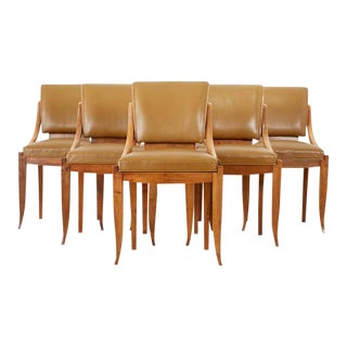 French Art Deco Mahogany Dining Chairs - Set of 6 For Sale