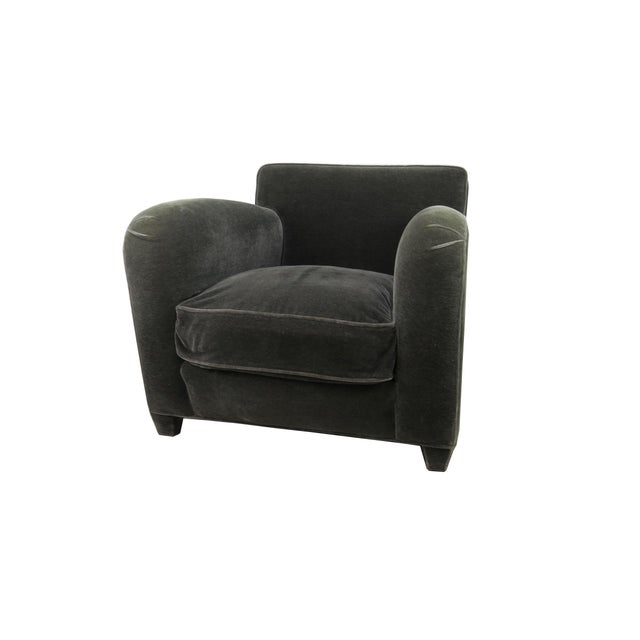 1980s Donghia Art Deco Style Gray Mohair & Down Club / Lounge Chairs - a Pair For Sale - Image 9 of 13