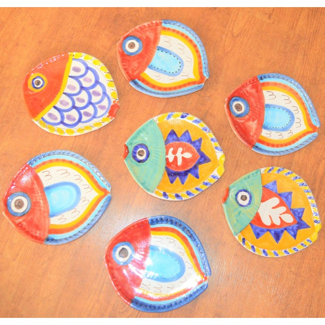 DeSimone 1980s Boho Chic DeSimone Terra Cotta Fish Plate For Sale - Image 4 of 13