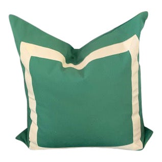 Pair of Kelly Green Cotton Canvas Pillows For Sale