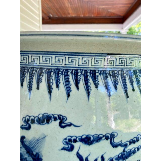 Blue Large Vintage Blue & White Dragons Asian Fish Bowl Planter Pot For Sale - Image 8 of 12