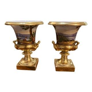 19th Century Paris Porcelain Campana Form Urns - a Pair For Sale