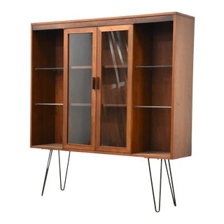 Walnut MCM Bookcase Display Cabinet For Sale