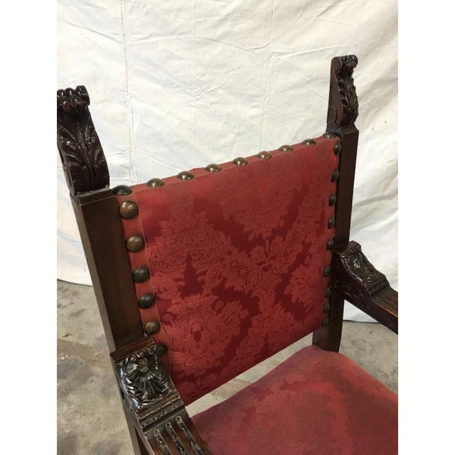 Red Italian Renaissance Revival Carved Armchairs - a Pair For Sale - Image 8 of 8
