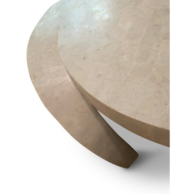White Vintage Tessellated Marble Coffee Table For Sale - Image 8 of 11