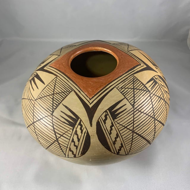 Tan Southwest Hand Painted Migration Seed Jar by Elva Nampeyo For Sale - Image 8 of 13