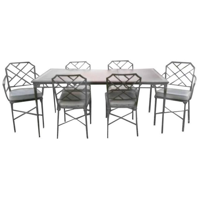 Brown Jordan Seven-Piece Calcutta Faux Bamboo Patio Dining Set For Sale In West Palm - Image 6 of 6