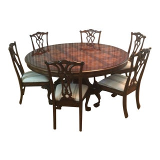 72 Inch Round Dining Table and Chairs For Sale