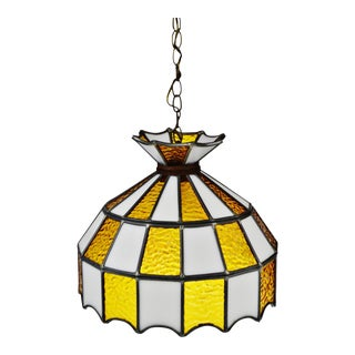 Mid Century Stained Glass Amber and White Glass Swag Pendant Chandelier