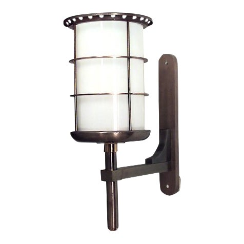 French 1940s Steel and Brass Cylindrical Shaped Bracket Lantern For Sale