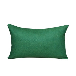 FirmaMenta Eco-Friendly Green Herringbone Wool Lumbar Pillow For Sale