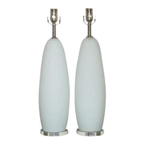 Vintage Murano Glass Table Pendant Lamps White For Sale