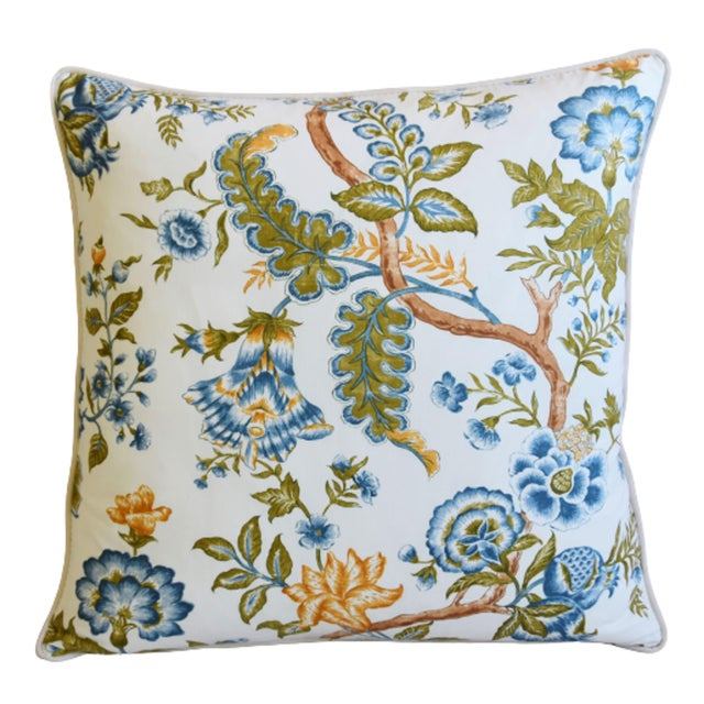 "English Clarence House Botanical Floral Tree of Life Fabric Feather/Down Pillow 22"" Square For Sale - Image 3 of 6"