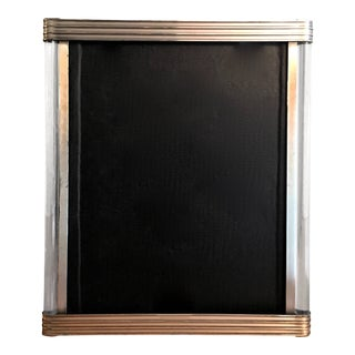 Art Deco Picture Frame With Ribbed Metal and Glass Rod Details For Sale