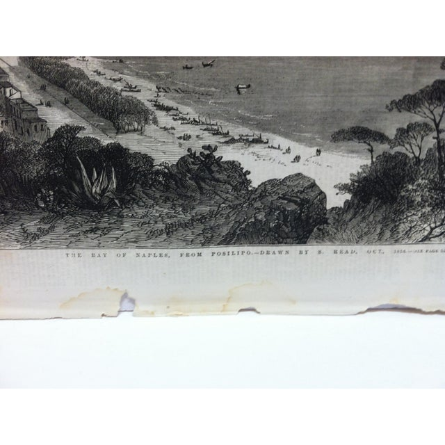 """English 1856 Antique """"The Bay of Naples - From Posilipo"""" The Illustrated London News Print For Sale - Image 3 of 5"""