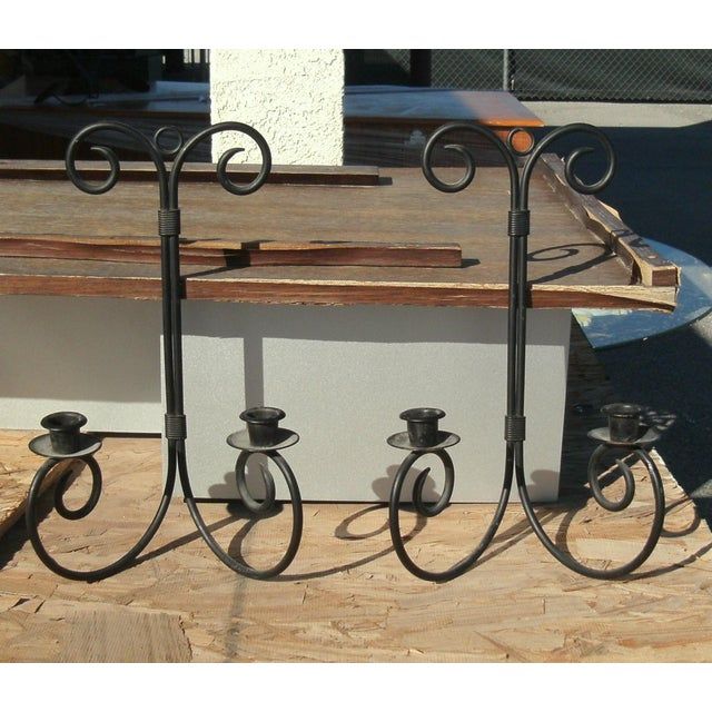Metal Late 20th Century Chandelier Wrought Iron Wall Sconce Candle Holders - a Pair For Sale - Image 7 of 7