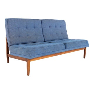 Early Florence Knoll Mid Century Parallel Bar Walnut Blue Settee Love Seat Sofa For Sale