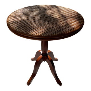 Wicker Palecek Round End Table For Sale