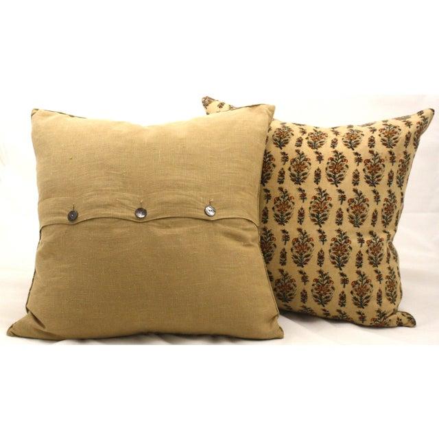 Vintage Paisley Block Print Pillows - A Pair - Image 3 of 3
