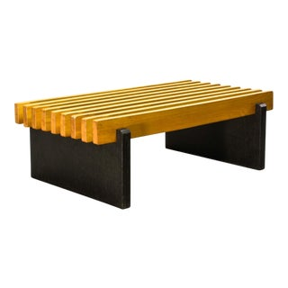 Mid-Century Modern Dutch Design Beech Wooden Slat Bench in Style of Spectrum, 1960s