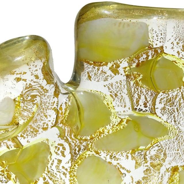 Barovier & Toso Barovier Toso Murano Vintage Yellow Gold Flecks Italian Art Glass Mid Century Bowl Ashtray Dish For Sale - Image 4 of 6